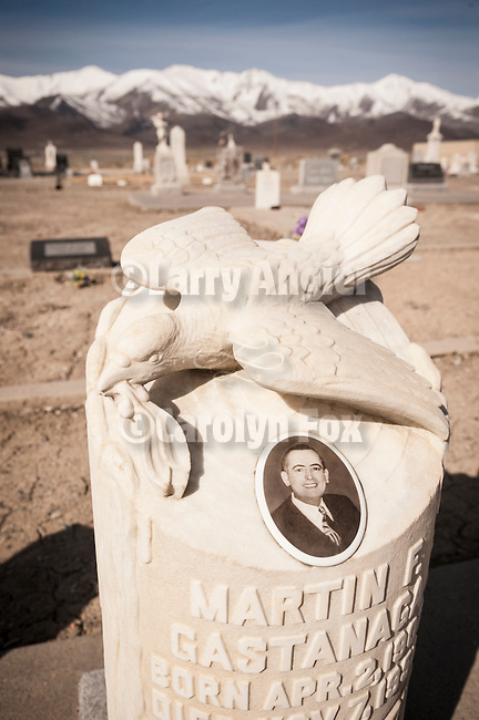 Paradise Valley Cemetery, Nev.<br /> <br /> Doves and stumps of marble memorializing the Gastanga Family<br /> <br /> Santa Rosa Range