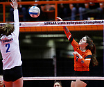 November 22, 2019; Rapid City, SD, USA; Mikena Moore #7 of Huron attempst a kill agains Sioux Falls O'Gorman at the 2019 South Dakota State Volleyball Championships at the Rushmore Plaza Civic Center in Rapid City, S.D. (Richard Carlson/Inertia)
