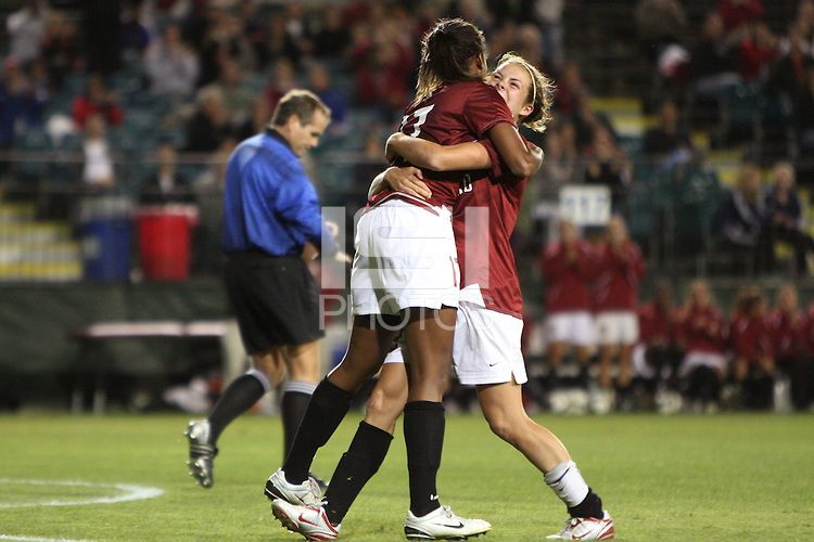 SANTA CLARA, CA - OCTOBER 3:  Kelley O'Hara and Lindsay Taylor of the Stanford Cardinal celebrate after a goal during Stanford's 5-0 win over the Santa Clara Broncos on October 3, 2008 at Buck Shaw Stadium in Santa Clara, California.