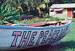 The Peace boat and a shack for the juice vendor, Tobago