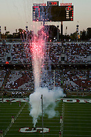 16 September 2006: Fireworks in from of the scoreboard during Stanford's 37-9 loss to Navy during the grand opening of the new Stanford Stadium in Stanford, CA.