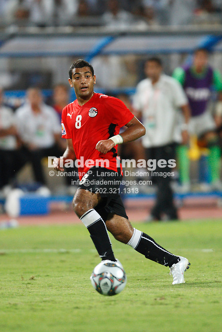 ALEXANDRIA, EGYPT - SEPTEMBER 24:  Shehab Ahmed of Egypt in action during a FIFA U-20 World Cup soccer match against Trinidad and Tobago September 24, 2009 in Alexandria, Egypt.  (Photograph by Jonathan P. Larsen)