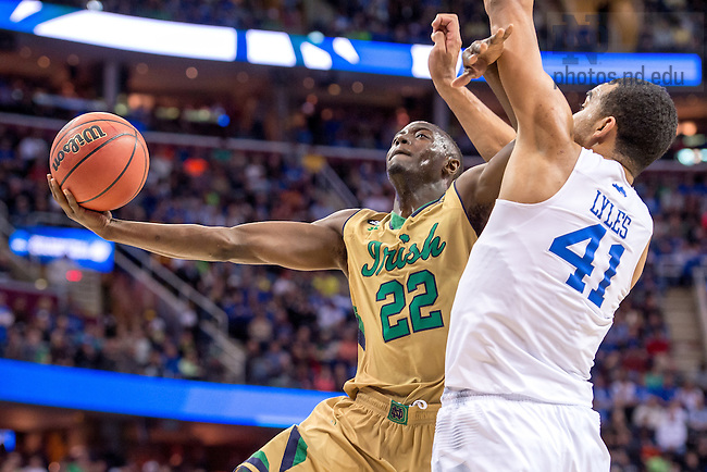 Mar. 28, 2015; Jerian Grant (22) goes up for a shot in the first half of the 2015 NCAA Tournament regional final against Kentucky. (Photo by Matt Cashore/University of Notre Dame)