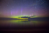 Aurora and Perseid over Lake Superior Marquette MI