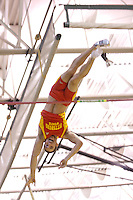 Pittsburg State junior Colbie Snyder tries to avoid the 16-7 bar in the pole vault at the 2012 MIAA Indoor Track & Field Championships at Missouri Southern State University in Joplin, MO February, 26. Snyder won the event clearing a personal record and nationals automatic qualifying mark  of 16-10.