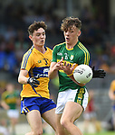 Jayme O'Sullivan of Clare in action against David Clifford of Kerry during their Minor Munster final at Killarney.  Photograph by John Kelly.