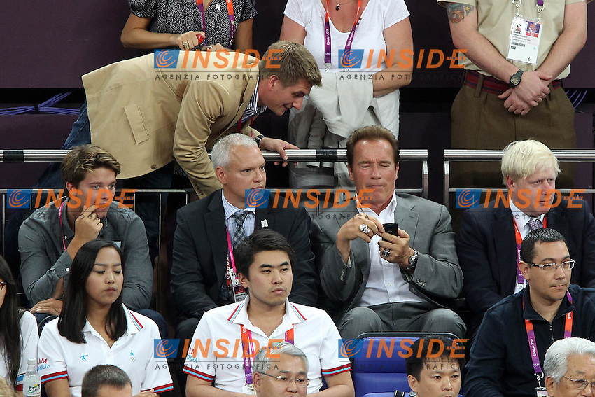 Arnold Schwarzenegger, Boris Johnson in tribuna.Londra 12/08/2012 North Greenwich Arena.London 2012 Olympic Games Men Football Tournament.Olimpiadi Londra 2012 Pallacanestro Maschile.Finale USA v Spagna.Foto Insidefoto Paolo Nucci.