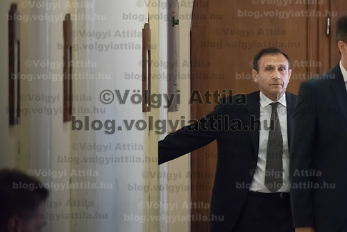 Tamas Gyarfas vice-president of FINA swimming association attends a court ruling connected to his arrest in a murder case in Budapest, Hungary on April 20, 2018. ATTILA VOLGYI