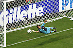05 July 2006: Goalkeeper Ricardo (POR) stretches but just misses the 33rd minute penalty kick goal from Zinedine Zidane (FRA) (not pictured). France defeated Portugal 1-0 at the Allianz Arena in Munich, Germany in match 62, the second semifinal game, in the 2006 FIFA World Cup.