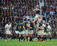 Victor Matfield of South Africa is dominant in the lineout during the QBE International match between England and South Africa at Twickenham Stadium on Saturday 15th November 2014 (Photo by Rob Munro)