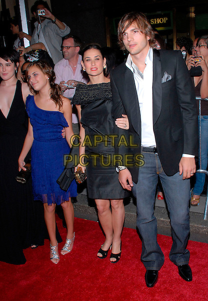 "RUMER & TALLULAH BELLE WILLIS, DEMI MOORE & ASHTON KUTCHER.US Premiere of ""Live Free or Die Hard"" held at Radio City Music Hall, New York City, New York, USA, .22 June 2007..full length black dress married husband wife couple jeans jacket daughters children blue one shoulder.CAP/ADM/BL.©Bill Lyons/AdMedia/Capital Pictures. *** Local Caption ***"