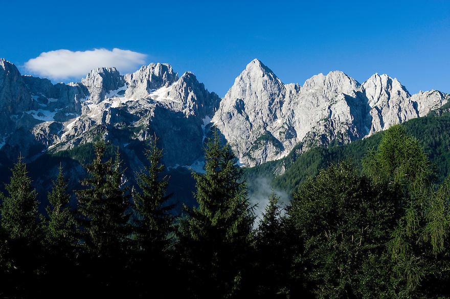 Julian Alps, Mount Spik, view from Gozd-Martuljek<br /> Triglav National Park, Slovenia<br /> July 2009