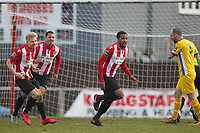 Theo Fairweather-Johnson scores the winning goal and celebrates during AFC Hornchurch vs Canvey Island, Bostik League Division 1 North Football at Hornchurch Stadium on 10th March 2018