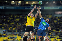 Hurricanes' James Blackwell and Blues' Gerard Cowley-Tuioti compete for lineout ball during the Super Rugby Aotearoa match between the Hurricanes and Blues at Sky Stadium in Wellington, New Zealand on Saturday, 18 July 2020. Photo: Dave Lintott / lintottphoto.co.nz