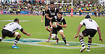 Mitchell Crosswalk carries the ball. Followed by Akira Ioane and Marty McKenzie. Maori All Blacks vs. Fiji. Suva. MAB's won 27-26. July 11, 2015. Photo: Marc Weakley