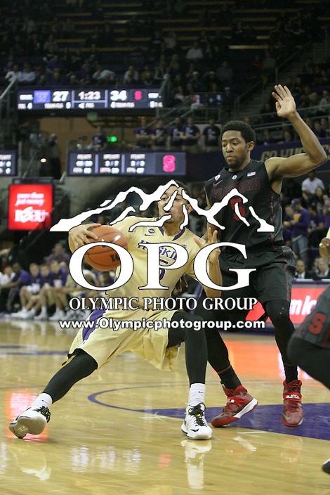 February 12, 2014:   Washington's Nigel Williams-Goss against Stanford.  Washington defeated Stanford 64-60 at Alaska Airlines Arena in Seattle, Washington.
