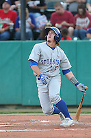 Wade Kirkland #12 of the Stockton Ports bats against the Visalia Rawhide at Rawhide Ballpark on May 5, 2014 in Visalia California. Visalia defeated Stockton, 8-6. (Larry Goren/Four Seam Images)