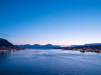 A view of Tromsoysundet, the Tromso straits from the Tromso Bridge in Tromso, Norway