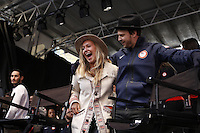 NEW YORK - OCT 29: Snowboarder Jamie Anderson (L) and pop star Gavin DeGraw. Olympic athletes participate in 100 Days to Sochi, a promotional event for the US Olympic Team, on Tuesday, October 29, 2013 in New York City. (Photo by Landon Nordeman)