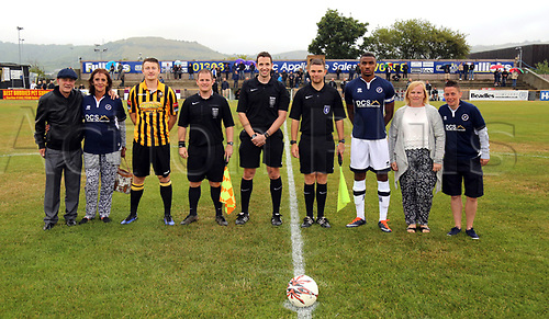11th July 2017, Fullicks Stadium, Folkestone, England; Football Pre Season Friendly; Folkestone Invicta FC versus Millway XI; Millwall captain Christian Mbulu and Folkestone Invicta defender Callum Davies join match officials and match day sponsors for a pre game photo