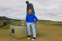 Hugh Smith (Mourne) at the statue of Tom Morris after winning the Veterans prize during the Ulster Seniors Open Championship at Rosapenna Golf Resort in Downings, Donegal, Ireland.<br /> <br /> Picture: Thos Caffrey / Golffile<br /> <br /> All photo usage must carry mandatory copyright credit (&copy; Golffile | Thos Caffrey)