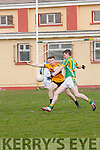 Lios Póil Deaglan Ó Súilleabhain and Listowel Emmets Jack McGuire in an action during the Junior Club Football Championship match in Lispole on Sunday afternoon.