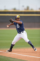 San Diego Padres third baseman Eguy Rosario (87) during a Minor League Spring Training game against the Seattle Mariners at Peoria Sports Complex on March 24, 2018 in Peoria, Arizona. (Zachary Lucy/Four Seam Images)