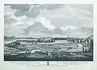 Orphans' Hospital in the Ursuline Convent, seen from the ramparts, engraving by James Mason after a drawing by Richard Short, published in 1761 as a collection of Views of Quebec in the 18th century, by Thomas Jefferys in London, in the collection of the Musees du Quebec, Quebec City, Quebec, Canada. Picture by Manuel Cohen