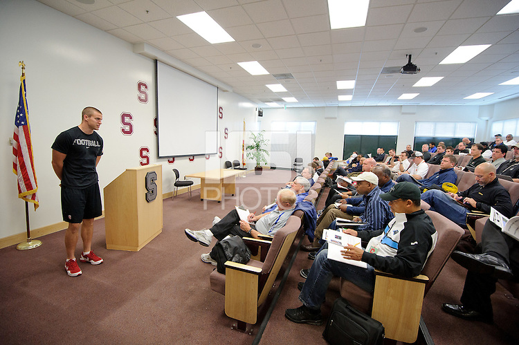 Stanford, Ca - Thursday, March 23, 2012: NFL Pro Timing day 2012. Coby Fleener is introduced.