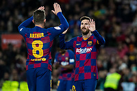 30th January 2020; Camp Nou, Barcelona, Catalonia, Spain; Copa Del Rey Football, Barcelona versus Leganes; Lionel Messi of FC Barcelona  celebrates with team mate Arthur as he scores for 5-0 in the 89th minute