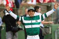 HOT SPRINGS, AR - April 14: Jockey Victor Espinoza is all smiles after winning the Apple Blossom Handicap at Oaklawn Park on April 14, 2017 in Hot Springs, AR. (Photo by Ciara Bowen/Eclipse Sportswire/Getty Images)