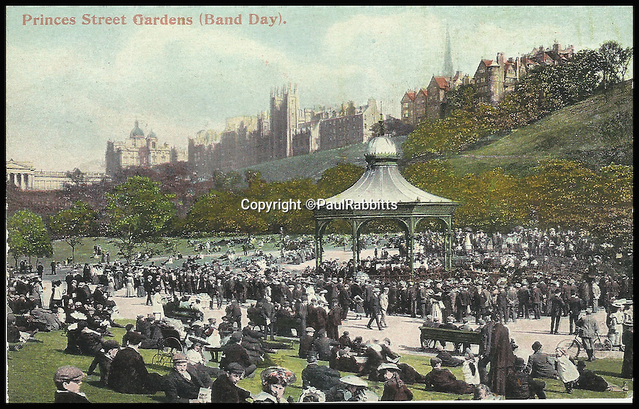 BNPS.co.uk (01202 558833)<br /> Pic: PaulRabbitts/BNPS<br /> <br /> ***Please Use Full Byline***<br /> <br /> The bandstand in Princes Street Gardens, Edignburgh. Lost.<br /> <br /> A landscape gardener is trumpeting the great British creation of the bandstand after touring the country's parks to study the iconic structures for a new book.<br /> <br /> Paul Rabbitts' work is a celebration of the Victorian platforms and a throwback to the halycon days of outdoor music when thousands of people would gather in public parks for a brass band performance.