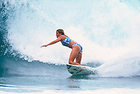 Professional surfer Melissa McDonald (AUS) during a free surf session at Currumbin Alley, Gold Coast, Queensland Australia. circa 1999 Photo: joliphotos