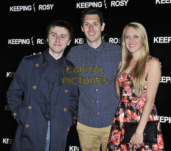 LONDON, ENGLAND - JUNE 26: James Buckley, Blake Harrison &amp; Emily Head attend the &quot;Keeping Rosy&quot; UK film premiere, Hackney Picturehouse, Mare St., on Thursday June 26, 2014 in London, England, UK.<br /> CAP/CAN<br /> &copy;Can Nguyen/Capital Pictures