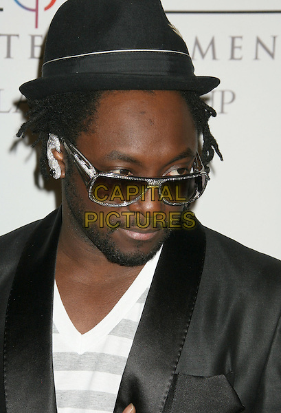 WILL.I.AM. - BLACK EYED PEAS.2008 Clive Davis Pre-Grammy Awards Party held at the Beverly Hilton Hotel, Beverly Hills, California, USA..February 9th, 2008.headshot portrait william sunglasses shades hat facial hair beard .CAP/ADM/RE.©Russ Elliot/AdMedia/Capital Pictures.