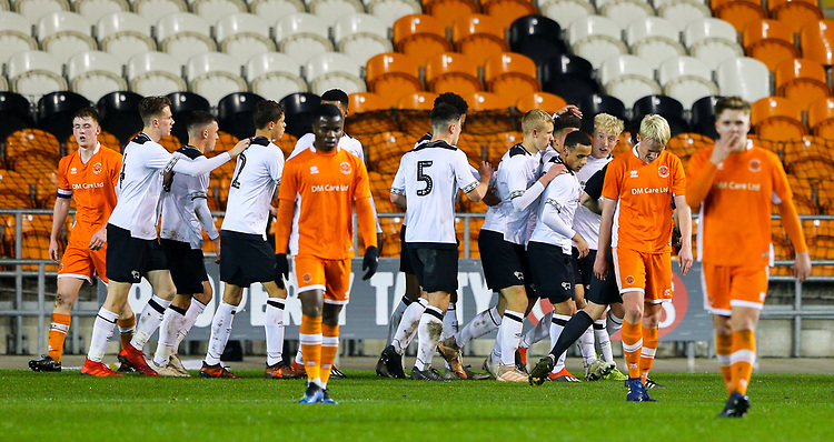 Derby County's Kornell McDonald celebrates scoring the opening goal with teammates<br /> <br /> Photographer Alex Dodd/CameraSport<br /> <br /> The FA Youth Cup Third Round - Blackpool U18 v Derby County U18 - Tuesday 4th December 2018 - Bloomfield Road - Blackpool<br />  <br /> World Copyright &copy; 2018 CameraSport. All rights reserved. 43 Linden Ave. Countesthorpe. Leicester. England. LE8 5PG - Tel: +44 (0) 116 277 4147 - admin@camerasport.com - www.camerasport.com
