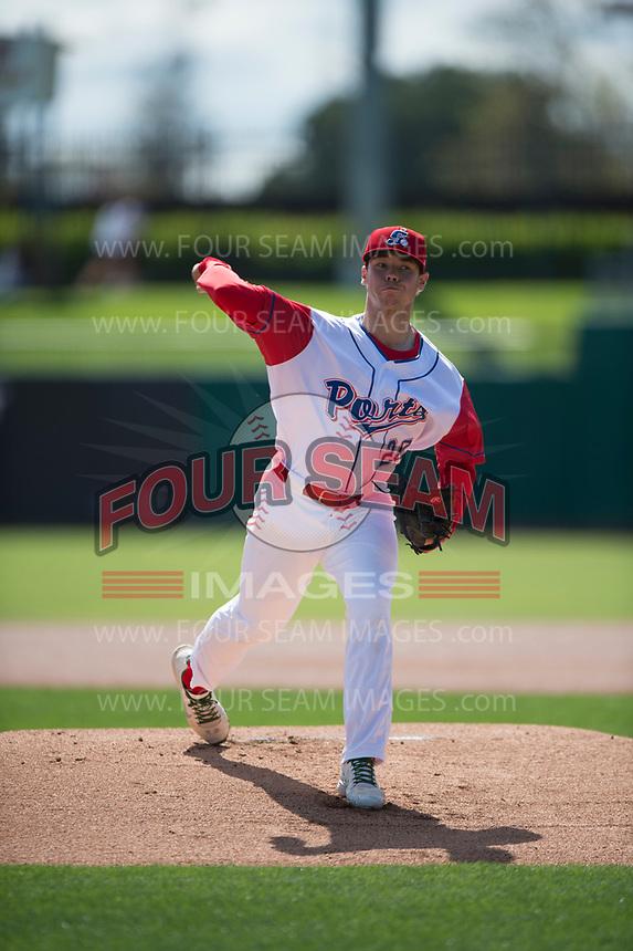 Stockton Ports starting pitcher Daulton Jefferies (20) during a California League game against the San Jose Giants on April 9, 2019 in Stockton, California. San Jose defeated Stockton 4-3. (Zachary Lucy/Four Seam Images)