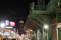 Lansdowne Street runs along one edge of Fenway Park and has a number of bars and nightclubs in Boston, Massachusetts, USA, in the early hours of Saturday, Dec. 5, 2015. In the background, the Prudential Center, one of the tallest buildings in Boston, is visible.