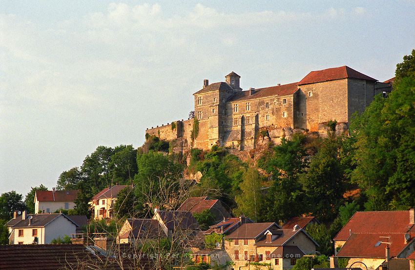 The medieval chateau de Salmaise castle / fortress in Burgundy, overlooking the village Salmaise