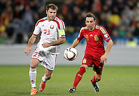Spain's Santi Cazorla (r) and Belarus' Timofei Kalachev during 15th UEFA European Championship Qualifying Round match. November 15,2014.(ALTERPHOTOS/Acero) /NortePhoto nortephoto@gmail.com