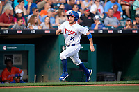 Buffalo Bisons Patrick Kivlehan (14) scores a run during an International League game against the Syracuse Mets on June 29, 2019 at Sahlen Field in Buffalo, New York.  Buffalo defeated Syracuse 9-3.  (Mike Janes/Four Seam Images)