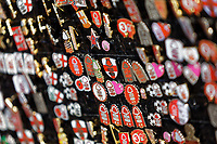 Nottingham Forest pins for sale by a street vendor during the Sky Bet Championship match between Nottingham Forest and Swansea City at City Ground, Nottingham, England, UK. Saturday 30 March 2019