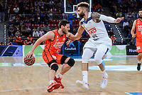 Real Madrid's Jeffery Taylor and Valencia Basket's Sam Van Rosso  during Quarter Finals match of 2017 King's Cup at Fernando Buesa Arena in Vitoria, Spain. February 19, 2017. (ALTERPHOTOS/BorjaB.Hojas)