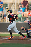 Derek Peterson (46) of the Delmarva Shorebirds follows through on his swing against the Kannapolis Intimidators at CMC-Northeast Stadium on June 6, 2015 in Kannapolis, North Carolina.  The Shorebirds defeated the Intimidators 7-2.  (Brian Westerholt/Four Seam Images)