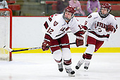 Ashley Wheeler (Harvard - 12), Kelsey Romatoski (Harvard - 5) - The Harvard University Crimson defeated the Boston College Eagles 5-0 in their Beanpot semi-final game on Tuesday, February 2, 2010 at the Bright Hockey Center in Cambridge, Massachusetts.