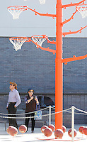 NWA Democrat-Gazette/DAVID GOTTSCHALK  Nelson and Nancy Brice, of Austin, TX., observe and photograph the large scale sculpture Orange Tree Tuesday, September 29, 2015 in Bentonville. The sculpture by Alexandre Arrechea is a metal tree sprouting basketball hoops and surrounded by basketballs is located in the front of the 21c Museum Hotel.