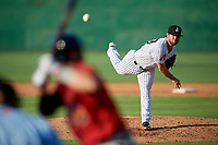 Jackson Generals starting pitcher Matt Peacock (43) during a Southern League game against the Mississippi Braves on July 23, 2019 at The Ballpark at Jackson in Jackson, Tennessee.  Jackson defeated Mississippi 2-0 in the first game of a doubleheader.  (Mike Janes/Four Seam Images)