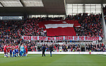 Middlesbrough fans unfurl a giant shirt during the Championship match at the Riverside Stadium, Middlesbrough. Picture date: August 12th 2017. Picture credit should read: Simon Bellis/Sportimage