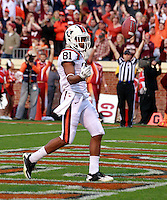 CHARLOTTESVILLE, VA- NOVEMBER 12: wide receiver Jarrett Boykin #81 of the Virginia Tech Hokies scores a touchdown during the game against the Virginia Cavaliers on November 28, 2011 at Scott Stadium in Charlottesville, Virginia. Virginia Tech defeated Virginia 38-0. (Photo by Andrew Shurtleff/Getty Images) *** Local Caption *** Jarrett Boykin