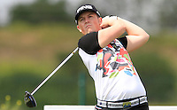 Dave Coupland (ENG) on the 1st tee during Round 1 of the Challenge de Madrid, a Challenge  Tour event in El Encin Golf Club, Madrid on Wednesday 22nd April 2015.<br /> Picture:  Thos Caffrey / www.golffile.ie